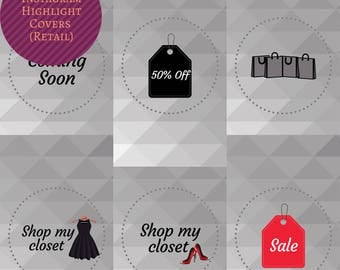 Instant Download - Set of 10 Instagram Story Highlight Covers for Retail - Icons