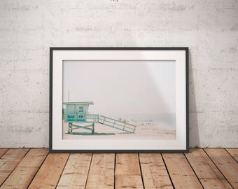 Beach Print, Lifeguard Tower Print, Beach Photography, Beach Wall Art, Ocean Print, Summer Wall Print, Coastal Wall Art, Beach Printable Art