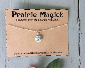 Tiny Blue Rose Cameo / Delicate Silver Chain Choker