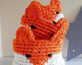 Fox Crochet Baskets / Nursery Decor / Baby shower