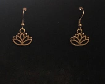 Antique Bronze Lotus Dangle Earrings