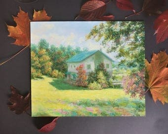 """Original oil painting autumn painting country rural landscape wall home decor rectangle small art 9.5x12"""" russian art Trees village salatov"""