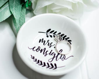 Wedding gift etsy personalized ring dish mrs ring dish bride gift engagement gift wedding negle Gallery