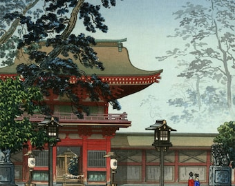 "Japanese Art Print ""Hakozaki Hachimangu Temple"" by Tsuchiya Koitsu, woodblock print reproduction, asian art, shrine, lanterns, Japan"