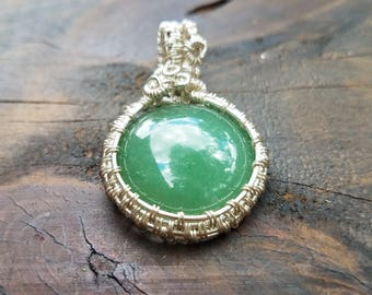 Green Aventurine and Sterling Silver Wire Wrapped Pendant * Necklace