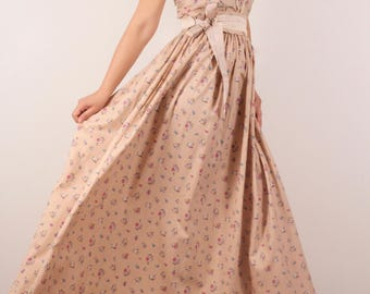 Long Dress With Tiny Flower On Beige Background