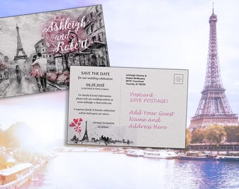 Save the Date Postcard, Paris Romance, Watercolor Engagement Announcement, Destination Wedding(6x4) printable file or printed postcards