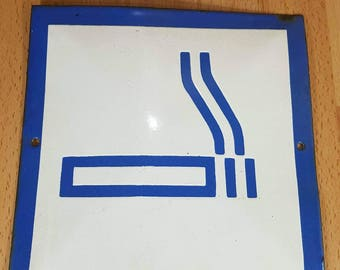Sign - Metal sign - A smoking sign - Place for smoking - Enamelled sign - Vintage Industrial Sign Metal -  Gift for Him - Man Cave.