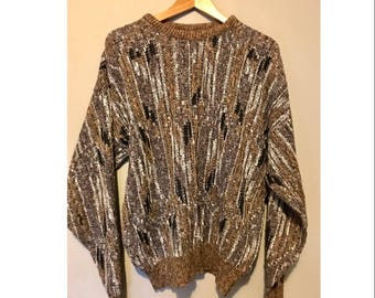 Vintage 80s Oversized Hipster Sweater Multicolored Abstract Cosby Sweater