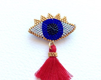 Eye Brooch with Red Vermilion Pompom and miyuki delica beads