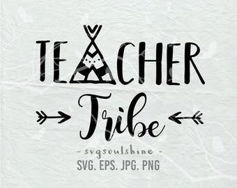 Teacher Tribe SVG File Teacher Silhouette Cut File Cricut Clipart Print Template Vinyl wall decor sticker shirt design svg Teaching