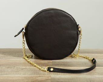 Leather circle bag. Round Bag. Leather Anniversary. Third Anniversary gift for her. 3rd anniversary gift. Leather handbag.
