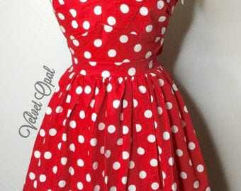 Red and white Polka Dot Crop top and Skirt combo pin up clothing