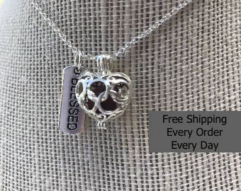 Filigree Heart with lava bead insert Aromatheapy Pendant