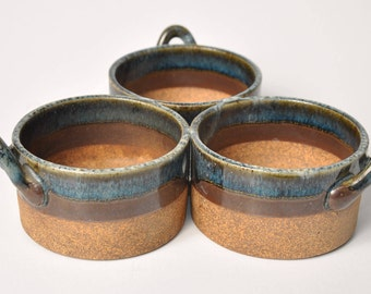 Vintage Stoneware Connected Bowls // VTG Bowl Trio // Ceramic Table Decor