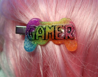 Neon UV Rainbow Glitter Gamer Resin Hairclip