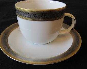Vtg Tirschenreuth Cup Saucer Bavaria Gold Platinum Encrusted Band Hand Painted Porcelain