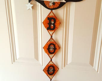 Romantic Orange Crow Halloween Banner - Boo