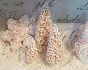 Vintage Bottle Brush Trees Pink Bottle Brush Trees Shabby Chic Pink Winter Trees Pink Glitter Trees With Pink Pearls Set of 3