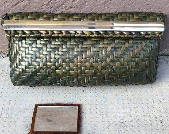 Green Raffia Clutch with Chain Metal Strap-Cesare Piccini