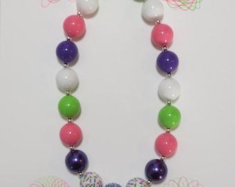 Little Girls Chunky Bubblegum Necklace, Little Girl Bubblegum Necklace, Girls Jewelry, Toddler Necklace, Chunky Bead Necklace, Bead Necklace