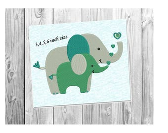 Baby Elephant Embroidery Design - Mother and Baby ~ Elephant Embroidery Design - Instant Download