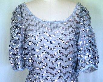 Vintage Silver Sequins Blouses