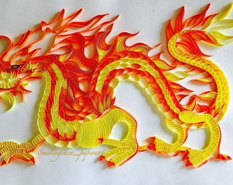 Dragon, handmade, mural, birthday, gift, wedding, quilling, paper, origami, art, unique, love, yellow, red, luck, China