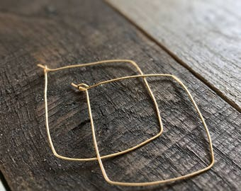 Square Gold Hoop Earrings / Square Hoops / Gold Hoop Earrings / Thin Gold Hoop Earrings / Rose Gold Hoops / Silver Hoop Earrings