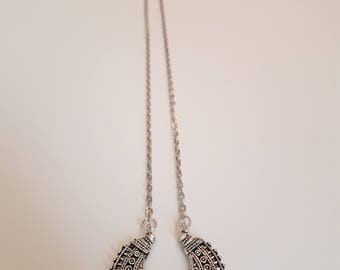 Silver necklace with half moon charm
