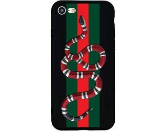 Luxury Goyard x Gucci Red Snake Silicone Soft Phone Case Matte Cover For iphone X 8 Plus 7 Plus 6 Plus 6S Fundas