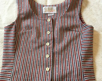 Vintage Striped Red White Blue Button Up Sleeveless Shirt Vest Jantzen 1960s Mod