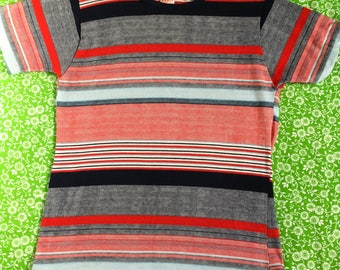 Vintage Esprit by Campus 1970s Striped T-Shirt Tee Red White Blue Made in USA XL