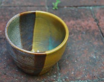 Aqua/Yellow Ceramic Tea Bowl
