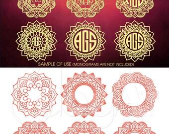Mandala Monogram Frames Vector Digital Cut Files Svg Dxf Eps Png Silhouette SCAL Cricut Printable Download Paper Vinyl Die Cutting JB-613