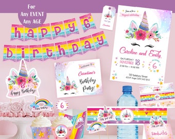 UNICORN Party printable kit, UNICORN birthday Party package,  Unicorn party supplies,  Unicorn printables, Unicorn invitation 1st year decor