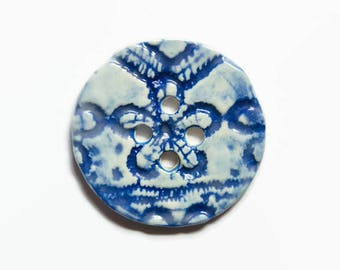Porcelain Buttons - 40mm Flower Button - Handmade Ceramic Button - Luxury Buttons Clay - White Blue Button - Large Button - 1.5 Inch Button