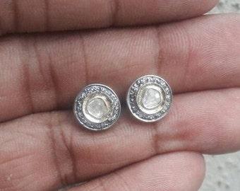 Victorian style rose cut diamond sterling silver round earrings studs - SKU PJ410714