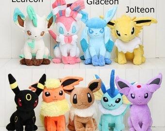 "Pokemon Eeveelution Plush! 30cm/12"" Eevee, Leafeon, Sylveon, Glaceon, Jolteon, Umbreon, Flareon, Vaporeon, Espeon"