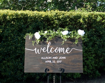 Wedding Wood Welcome Sign, Wood Wedding Sign, Rustic Wedding Decor, Wedding Welcome, Rustic Wedding Decor, Custom Wedding Sign, Wood Signs