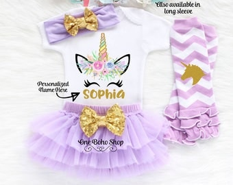 Personalized Name Unicorn Outfit, First Birthday Outfit Girl, Unicorn Birthday Outfit, First Birthday Unicron Outfit, Unicorn Shirt U1L