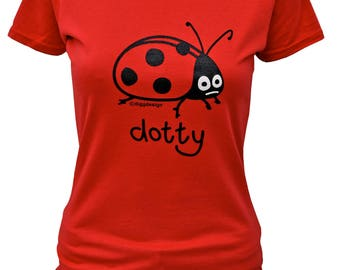Womens 'dotty' LADYBIRD fitted red T.shirt.