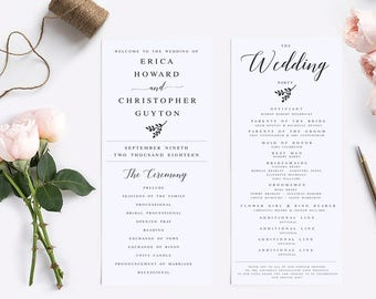 Calligraphy Wedding Program Template Modern Wedding Program Template  Wedding Program Printable Wedding Ceremony Template Rustic
