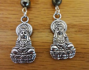 Goddess Guanyin Moonstone Pyrite Earrings//Buddhism//Reiki//Crystals//Compassion