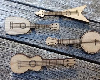 Ukulele Laser Cut Badge Set of Four