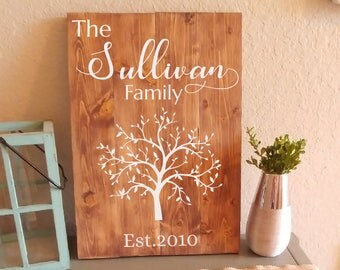 Wood Sign, Family Name With Tree, Last Name Signs, Established Date Sign, Personalized Signs, Custom Signs, Housewarming Gift, Wood Wall Art