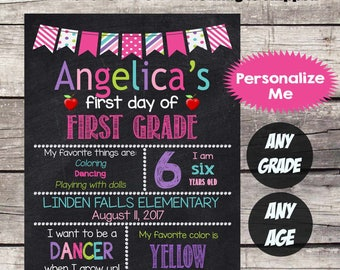 First Day of FIRST GRADE School Sign - First Day of School Chalkboard Printable - Personalized Back to School Sign ANY Grade Any size - #2