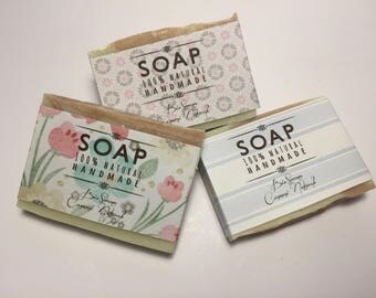 Set of 3 soaps with olive oil, Pink Clay and Green Clay. Natural homemade