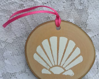 "Natural Birchwood Nautical Seashell Hanging Ornament - 3-4"" - Made in USA"