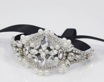 Pearl Bridal bracelet Vintage rhinestone cuff Bracelet | Wedding Jewelry bridal cuff bracelet glass seed beads and Rhinestones